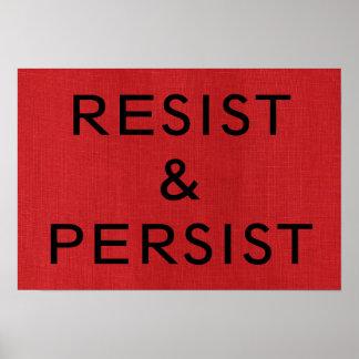 Poster Résistez et persistez sur l'affiche de toile rouge