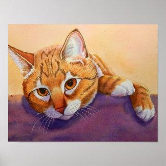 Poster Respect orange de chat tigré