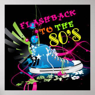 Poster Retour en arrière au basket de néon des années 80