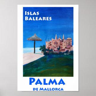 Poster Rétro affiche de Palma de Majorque Espagne