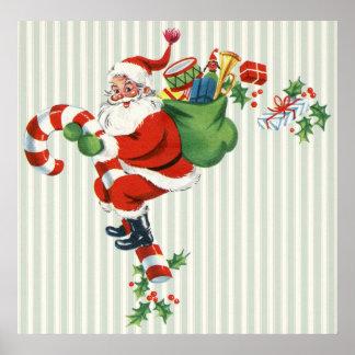 Poster rétro affiche de père Noël de sucre de canne