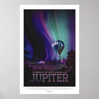 Poster Rétro affiche de voyage dans l'espace de style -