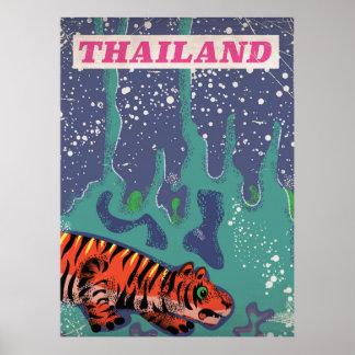Poster Rétro affiche de voyage de tigre de la Thaïlande