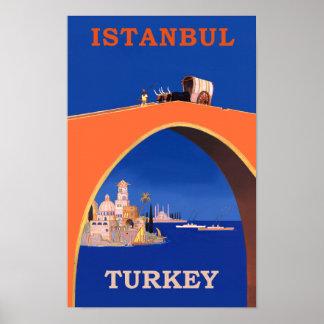 Poster Rétro affiche de voyage d'Istanbul, Turquie