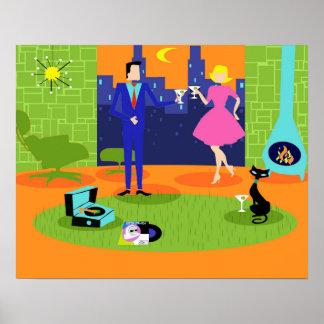 Poster Rétro affiche romantique de couples de soirée