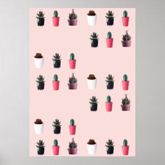 Poster Rétro art de bruit rosâtre - cactus minimaux