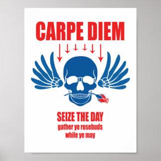 Poster Rétro Carpe vintage bleu rouge Diem. Saisissez le