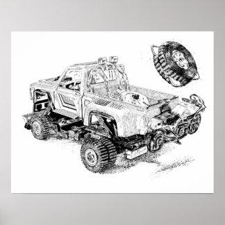 Poster Rétro collecte de jouet/camion reconditionné