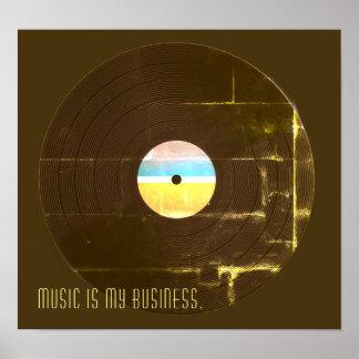 Poster Rétro couverture vintage musicale de plat de