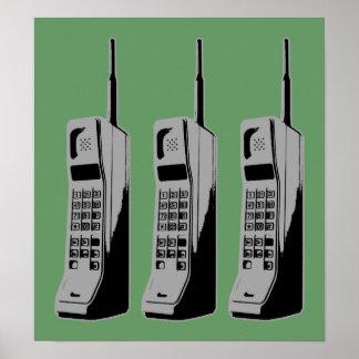 Poster Rétro graphique de téléphone portable