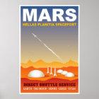 Poster Rétro illustration de voyage dans l'espace de Mars
