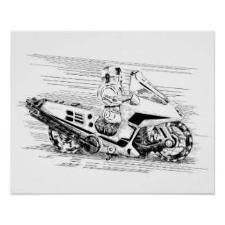 Poster Rétro moto/hélicoptère de jouet