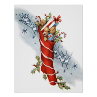 Poster Rétro Noël vintage Père Noël stockant l'affiche