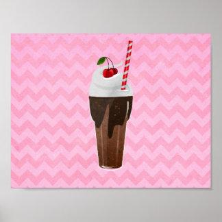 Poster Rétro secousse de crème glacée de chocolat