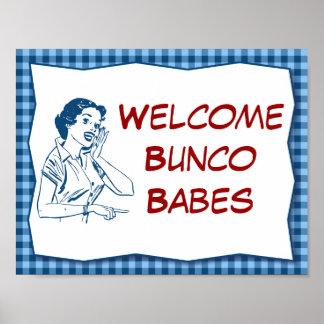 Poster Rétro signe bienvenu de bébés de Bunco