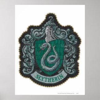 Poster Rétro Slytherin crête puissante de Harry Potter |