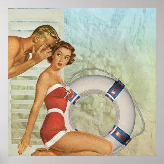 Poster Rétro style de cru de Pin- de plage