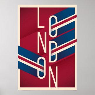 Poster Rétro typographie illustrée de Londres, Angleterre