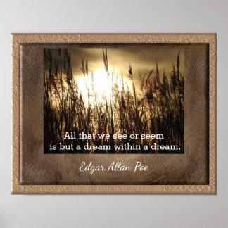 Poster Rêve dans un rêve - citation de Poe - copie d'art