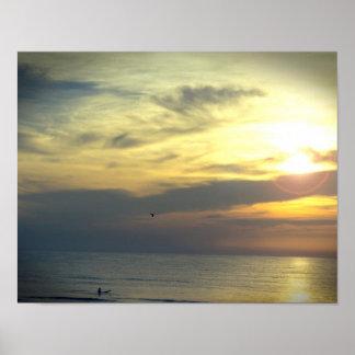 Poster Rêve de surfer de lever de soleil et de photo