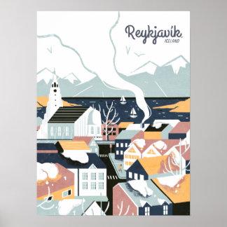 Poster Reykjavik, Islande, affiche de voyage