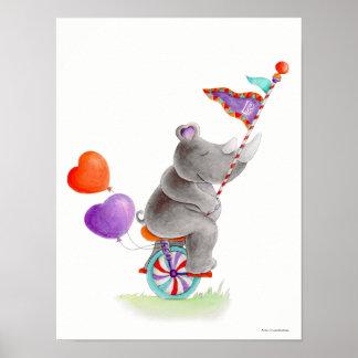 Poster Rhinocéros gris de cirque fantaisie sur une crèche