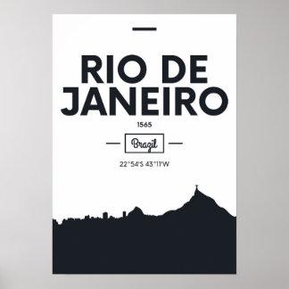 Poster Rio de Janeiro, coordonnées de ville du Brésil |