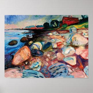 Poster Rivage avec la Chambre rouge par Edvard Munch
