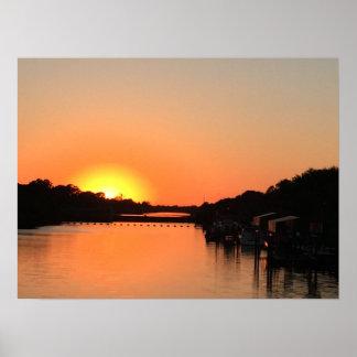 Poster Rivière de coucher du soleil