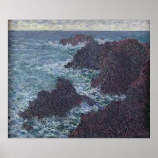 Poster Roches de Claude Monet | au Belle-Ile, la côte