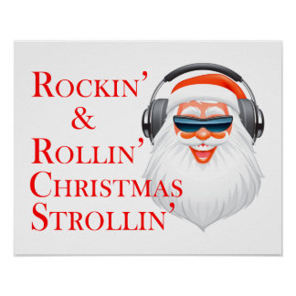 Poster Rockin le père noël frais avec des écouteurs