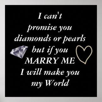 Poster Romantique épousez-moi poème
