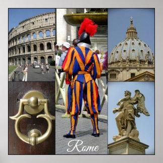 Poster Rome le collage de ville éternelle