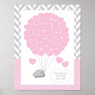 Poster Rose, baby shower gris blanc 2 d'éléphant - invité