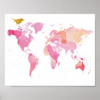 Poster Rose et carte du monde d'or