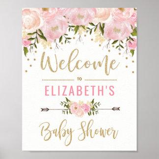 Poster Rose et décor floral de signe bienvenu de baby