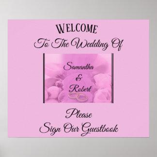 Poster Rose et floraux avec des anneaux et la salutation