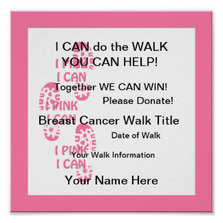 Poster Rose rose de marcheur de cancer du sein je peux