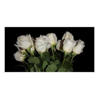 Poster Roses Long-Refoulés blancs sur le noir