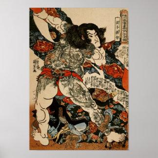 Poster Roshi Ensei avec des beaux-arts de Kuniyoshi de