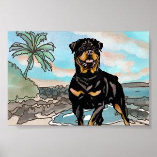 Poster Rottweiler jouant à la plage d'Hawaï