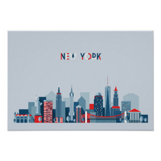 Poster Rouge, blanc et bleu de New York City |