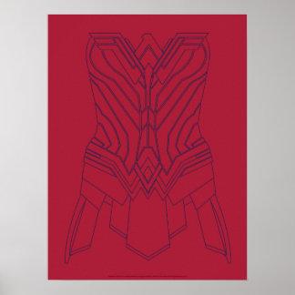 Poster Rouge de femme de merveille et contour d'armure de