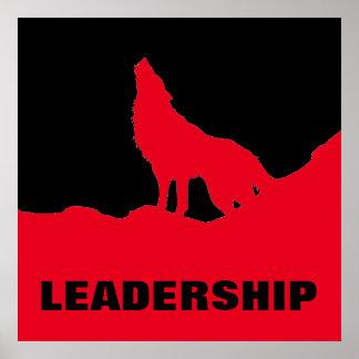 Poster Rouge de motivation de noir de loup de direction