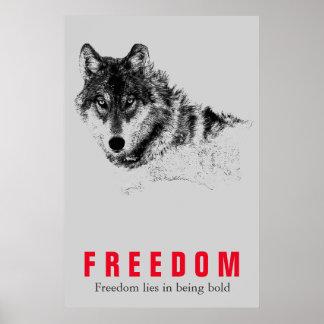 Poster Rouge gris de motivation d'art de bruit de loup de