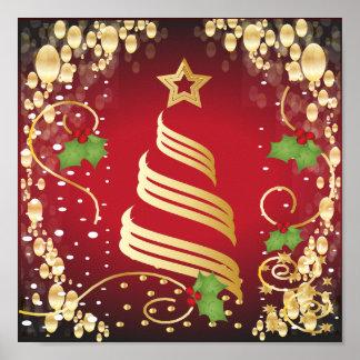 Poster Rouge lumineux de fête et or de Joyeux Noël