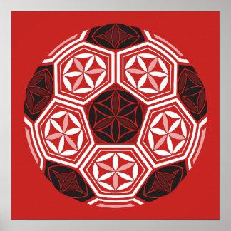 Poster rouge sacré de la géométrie du football