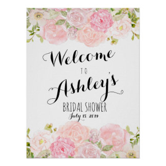 Poster Rougissent le signe bienvenu rose