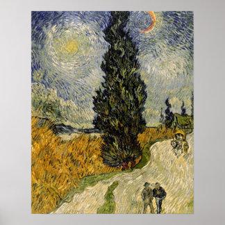 Poster Route de Vincent van Gogh | avec des cyprès, 1890