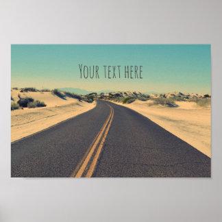 Poster Route faite sur commande de désert des textes